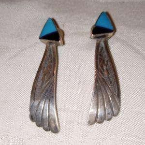 Native American Navajo Sterling Stone Earrings
